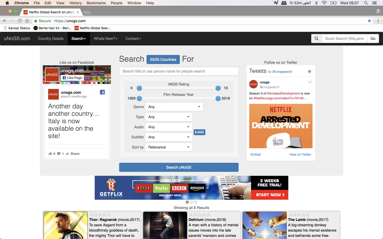 uNoGS platform search engine Netflix